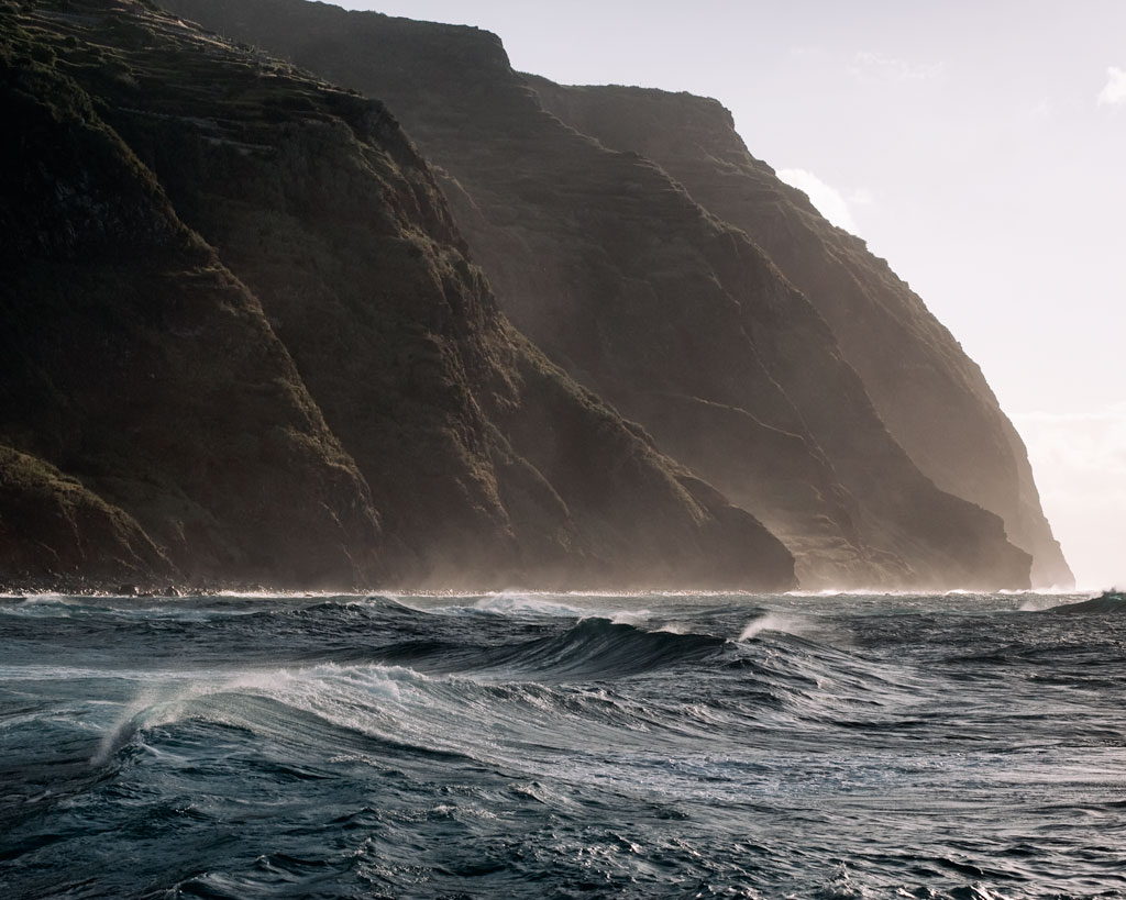 Ocean waves and mountains