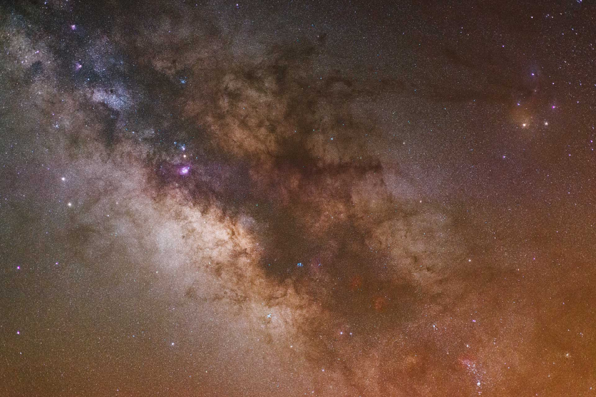 Center of Milky Way Galaxy, gas emission clouds, nebulae and Scorpio constellation