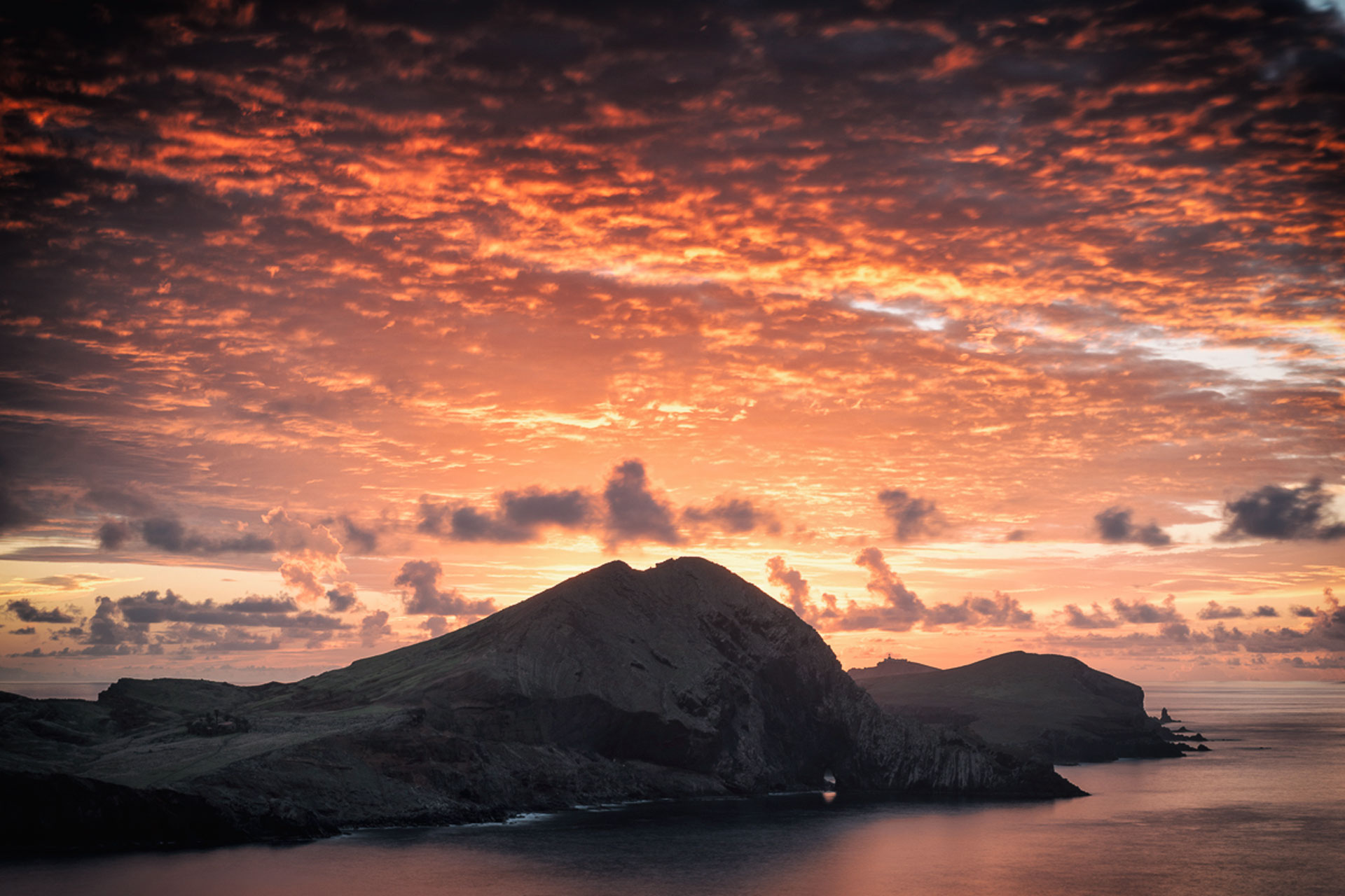 Red planet sky, sunrise, ocean and mountains