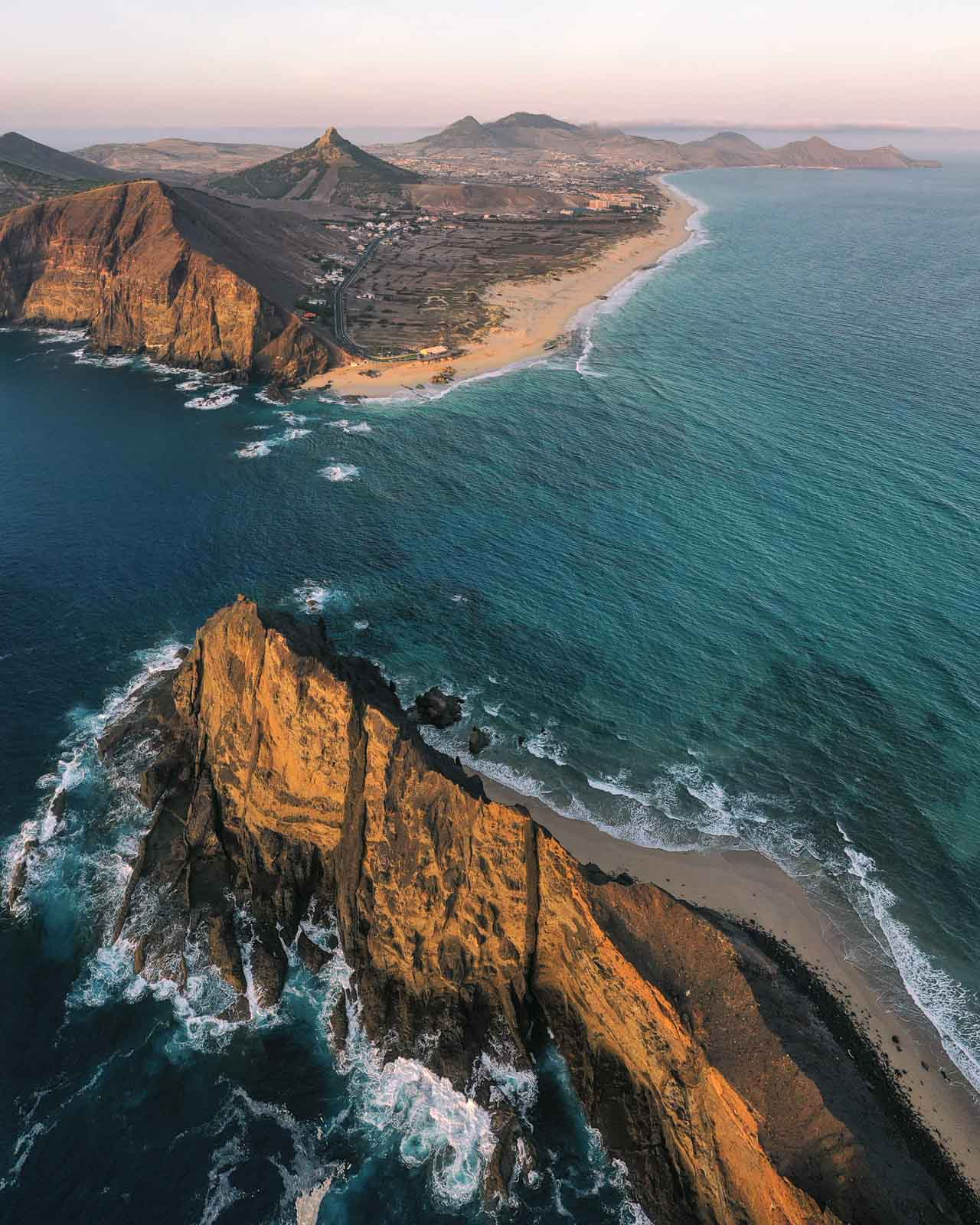 Aerial view to the Porto Santo Island from Island Cal