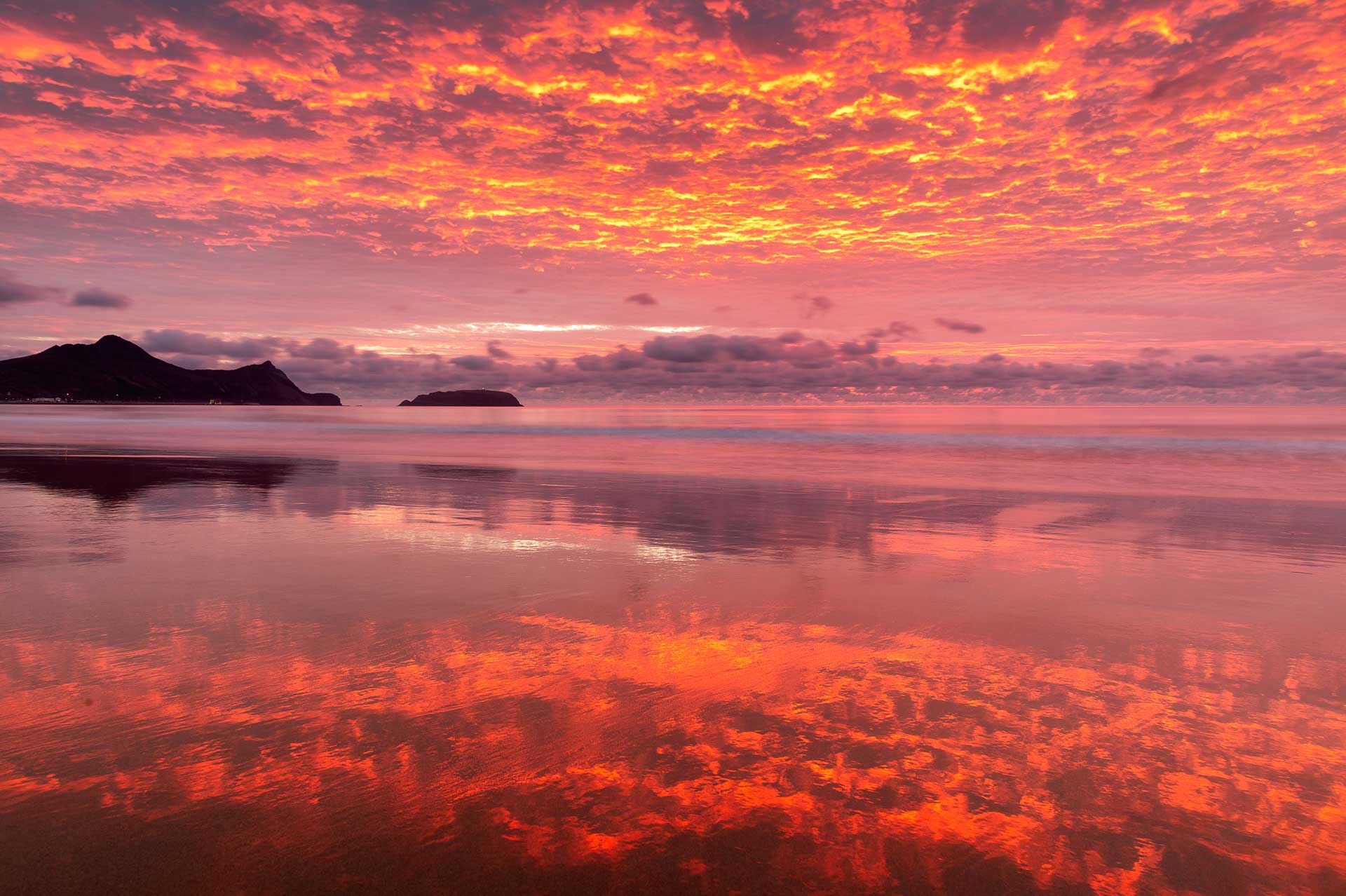 Red sunrise in Porto Santo